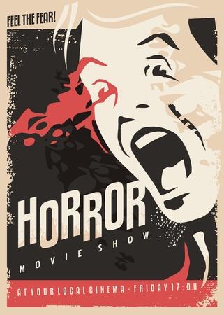 Horror pokazuje projekt plakatu kina retro z przerażonym mężczyzną krzyczącym i dużą ilością krwi na ciemnym tle.