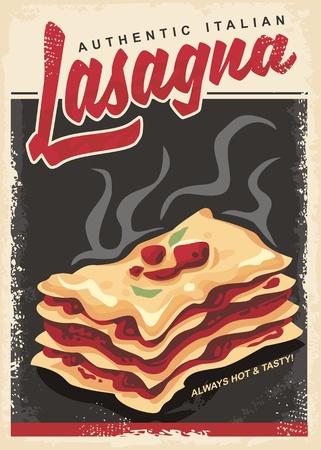 Lasagna retro promo poster design template