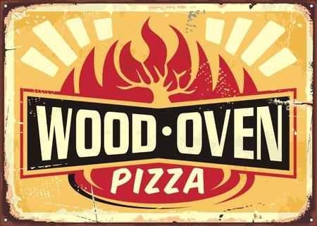 Horno de leña encendió la plantilla de diseño de letrero de metal vintage pizza sobre fondo amarillo. Cartel de pizza retro de cocina italiana.