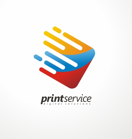 Printing office logo design idea. Çizim