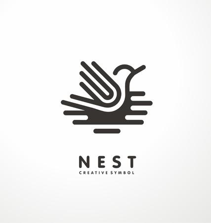 Nest symbol line art illustration with cute bird. Creative logo design concept
