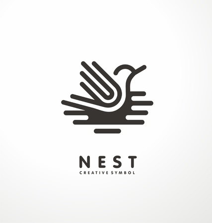Nest symbol line art illustration with cute bird. Creative logo design concept