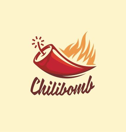 Chili bomb creative symbol concept for extra hot chili sauce. Logo design idea for Mexican restaurant. Ilustração
