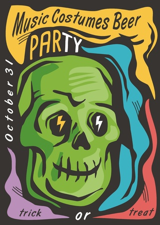 Halloween party card invitation design template with zombie skull and playful colorful design elements. Trendy poster for Halloween night.