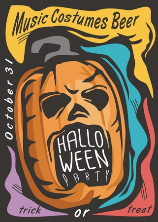 Halloween card template with pumpkin head and colorful design elements. Spooky invitation for Halloween night party, Holidays and celebrations event poster. Illusztráció