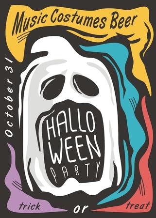 Creepy ghost Halloween party invitation design layout. Funny cartoon Halloween greeting card idea.