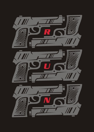 Conceptual poster or t shirt design with gun weapon graphic. Decorative wall image template. Hand gun print layout.