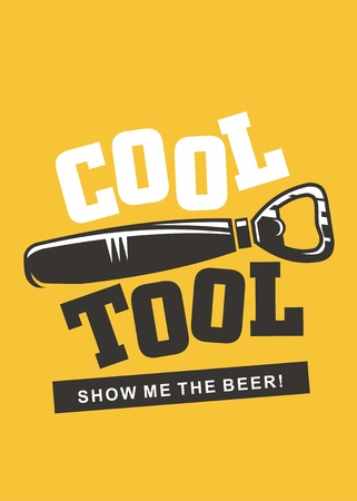 Cool tool creative beer concept design with bottle opener and playful lettering. Show me the beer T shirt or wall poster idea