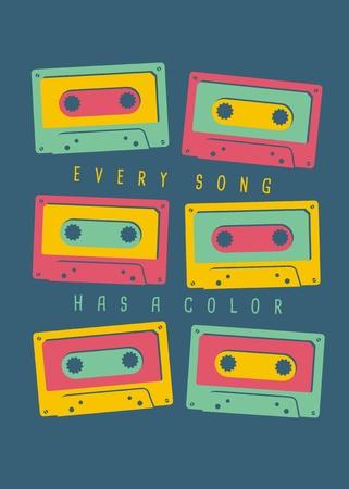 Muzikaal t-shirtontwerpidee. Elk nummer heeft een gekleurd, kleurrijk sjabloon voor een T-shirt of poster. Vectorillustratie met multi gekleurde cassettebandjes.