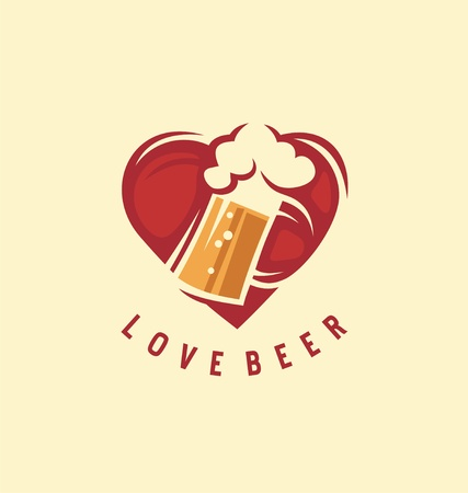 Beer design idea with heart shape and beer mug in negative space