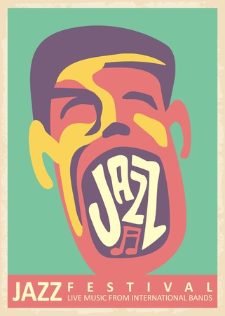 Jazz music festival retro poster design with singer male character singing with passion. Artistic colorful musical template. Vector illustration art. Illusztráció