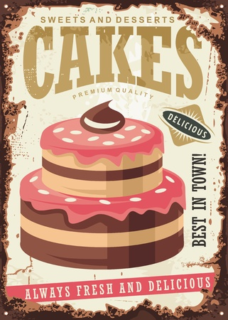 Cakes and sweets retro tin sign design