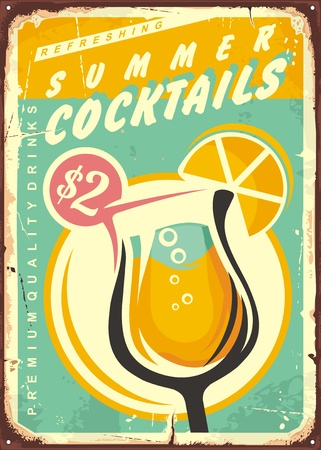 Summer cocktails retro tin sign design. Çizim