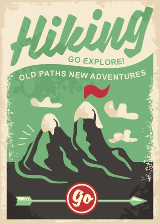 Hiking retro poster design with mountain shape and classic arrow pointer