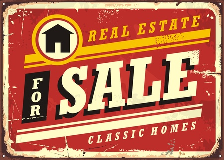 Real estate for sale retro tin sign design layout. Homes, buildings and houses vintage poster for real estate agency