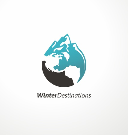 Winter destinations travel agency . Creative symbol made from mountain shape and globe. Vector icon, emblem, sign. Illustration