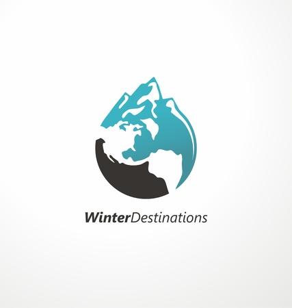 Winter destinations travel agency . Creative symbol made from mountain shape and globe. Vector icon, emblem, sign. Illusztráció