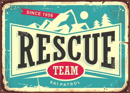 Rescue team vintage old sign for ski patrol. Retro poster for first aid service on mountain ski trails. Vector illustration.
