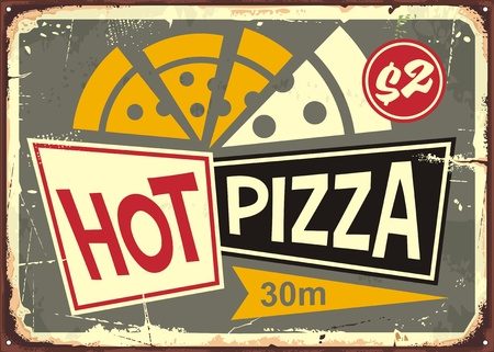 Retro pizzeria sign with hot pizza and old fashion style typography. Illusztráció