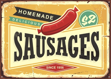 Delicious homemade sausages retro promotional sign