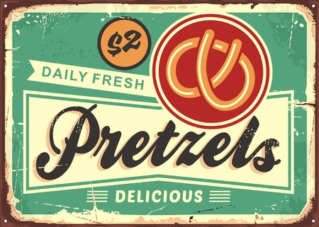Daily fresh hot pretzels retro bakery sign on old rusty metal background. Pastries and bread products poster ad design. Archivio Fotografico - 118769660