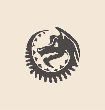 Dragon symbol. Artistic hand drawn dragon tribal silhouette.