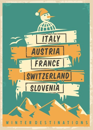 Travel agency retro promo poster design with popular winter destinations. Winter vacation vector ad template. Illustration