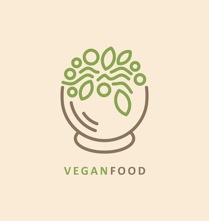 Line art icon design with salad bowl full of healthy food. Vegan food concept.