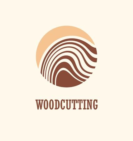 Wood work design concept with tree trunk and circle shape. Lumberjack symbol idea. Illustration