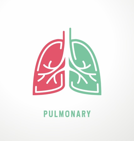 Disegno di simbolo dei polmoni. Idea polmonare per clinica medica.