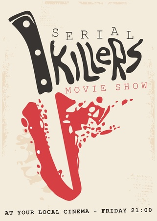 Retro poster design concept for serial killers movie show. Vintage sign with bloody knife and blade in negative space. 스톡 콘텐츠 - 118769669