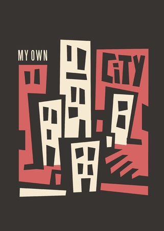 City skyline artistic print design for t shirts, posters wall decor. Cubist style buildings vector design. Illusztráció