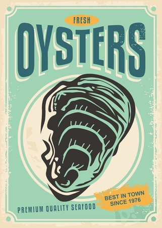 Fresh oysters retro poster design template