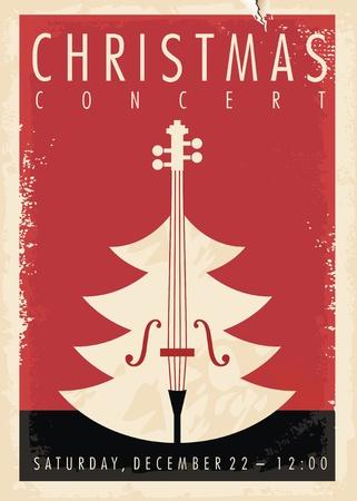 Design di poster retrò per concerti di Natale per eventi musicali. Tema delle vacanze di Capodanno.