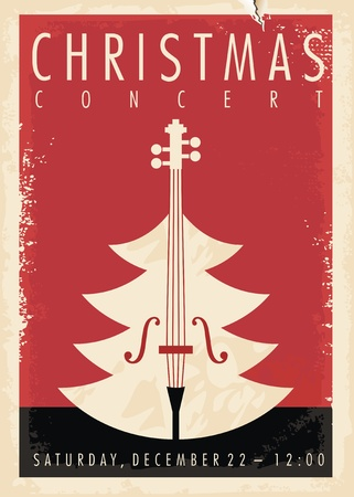 Christmas concert retro poster design for musical event. New year holiday theme. Illustration