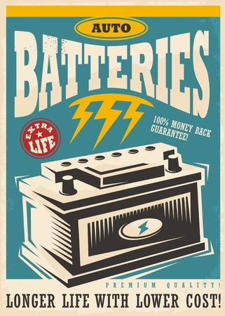 Auto lite batteries vintage ad design template. Retro poster transportation and car parts vector leaflet layout.