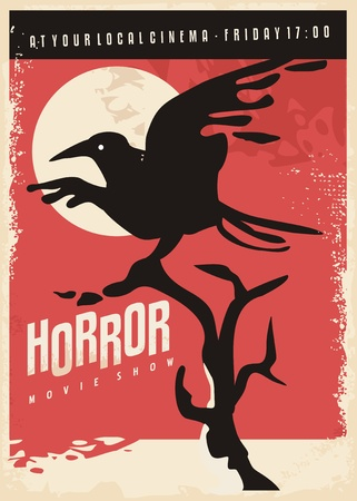Horror movies retro poster design with black raven on red background. Vintage with crow bird.