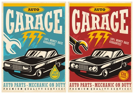 Car service and garage retro posters collection