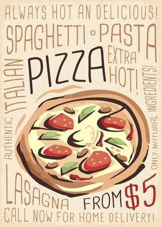 Pizza menu. Artistic menu design for pizzeria restaurant.