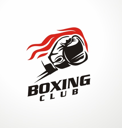 Boxing club vector illustration. Boxing glove punching with flames. Symbol design.