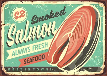 Smoked salmon fish vector tin sign board design Illustration