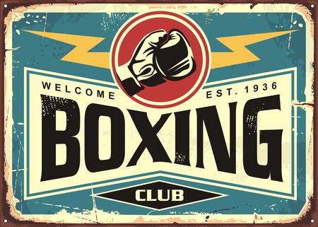 Conception de modèle de signe d'étain rétro de club de boxe. Affiche promotionnelle du sport et des loisirs. Vecteurs