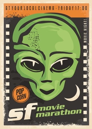 Science fiction movie night retro poster design with alien and film strip on dark background