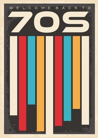 Retro 70er Jahre buntes Muster mit geometrischen Formen. 1970er Jahre Vintage dekorative Plakatgestaltung.