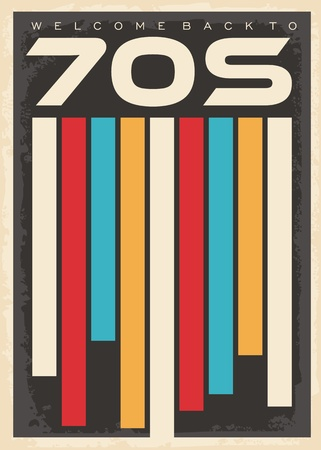 Retro seventies colorful pattern with geometric shapes. 1970s vintage decorative poster design. Illustration