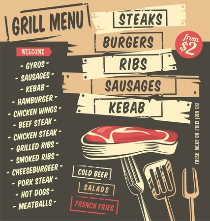 Grill menu creative design with artistic food graphics. Restaurant menu template. Steaks, burgers, kebab, ribs, sausages vector illustration.