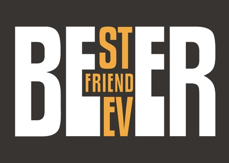 Beer, best friend ever, creative typography words play puzzle. Tee shirt or poster design template for beer lovers. Vector illustration.