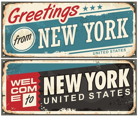 Greetings from New York America retro metal souvenir print design layout Illusztráció