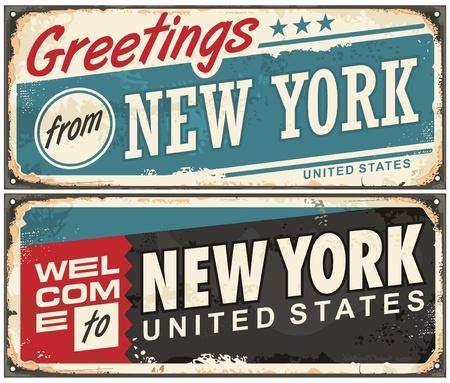 Greetings from New York America retro metal souvenir print design layout Illustration