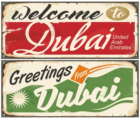 Dubai retro souvenirs. Vintage vector illustration. Иллюстрация